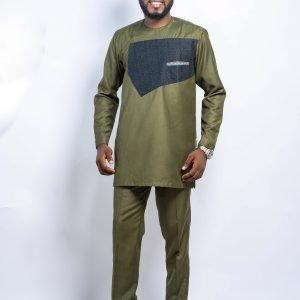 OsaaGyefo Army-Green Kaftan